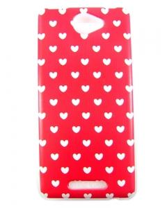 Capa Gel Style BQ Aquaris U Lite Hearts Red