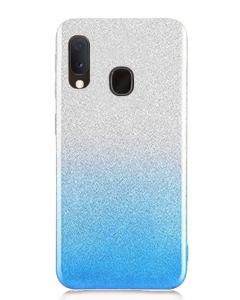 Capa Samsung Galaxy A20E Brilhantes Degradê Prateado Azul