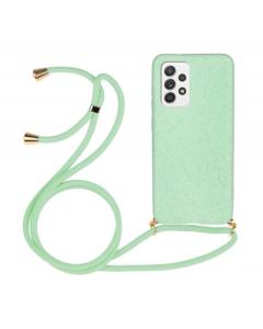 Capa Samsung Galaxy A52 5G Silky Verde Agua com Cordão