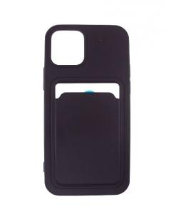 Capa Iphone 12 Pro Silky Preto com suporte de cartões